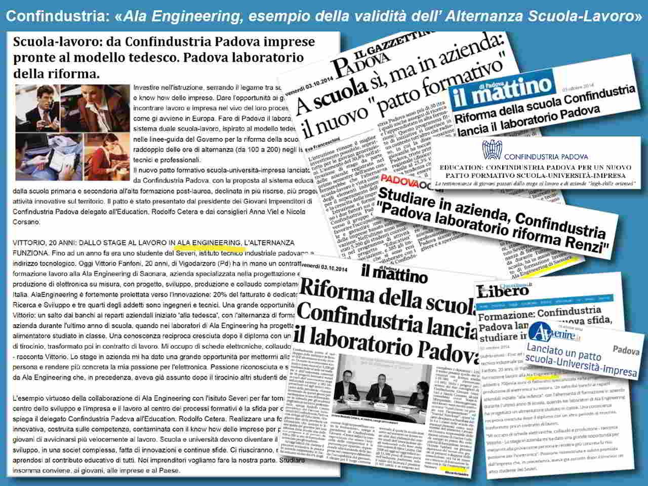""", Confindustria: """"Ala Engineering esempio virtuoso per l'Alternanza Scuola-Lavoro"""""""